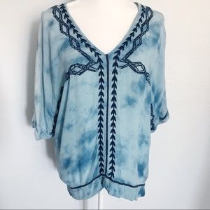 Free people Blue embroidered tie dye dolman top XS